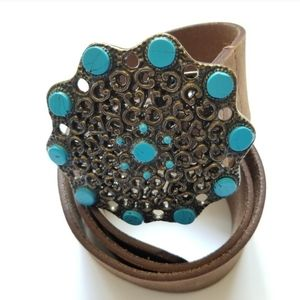 chicos leather wide belt with statement buckle